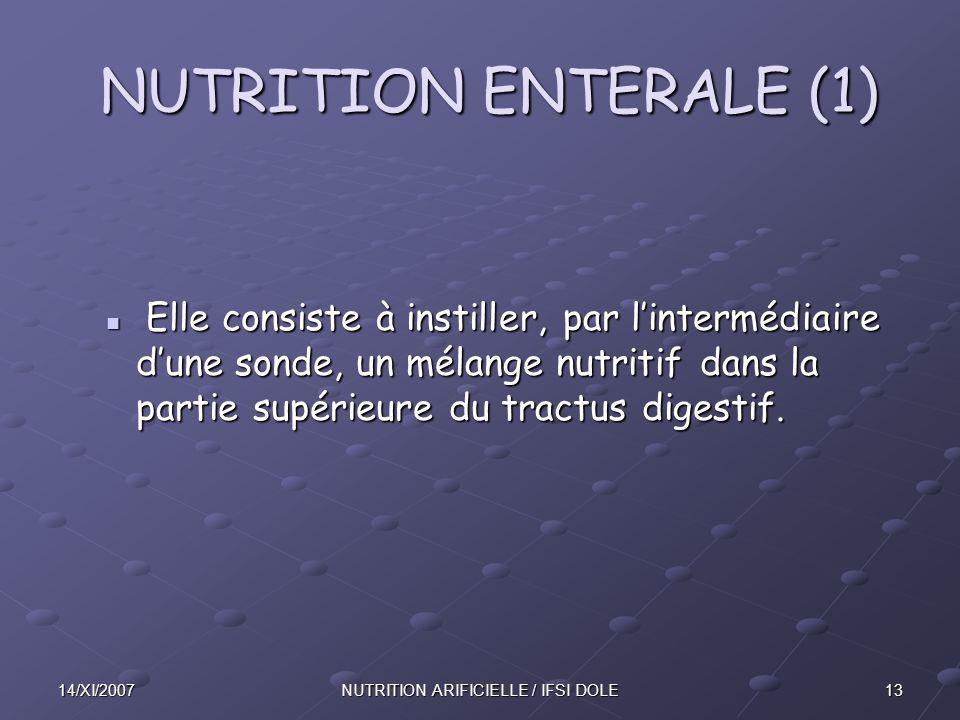 NUTRITION ARIFICIELLE / IFSI DOLE