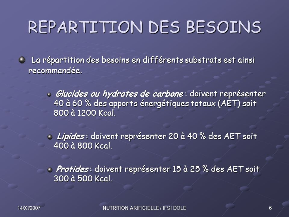 REPARTITION DES BESOINS