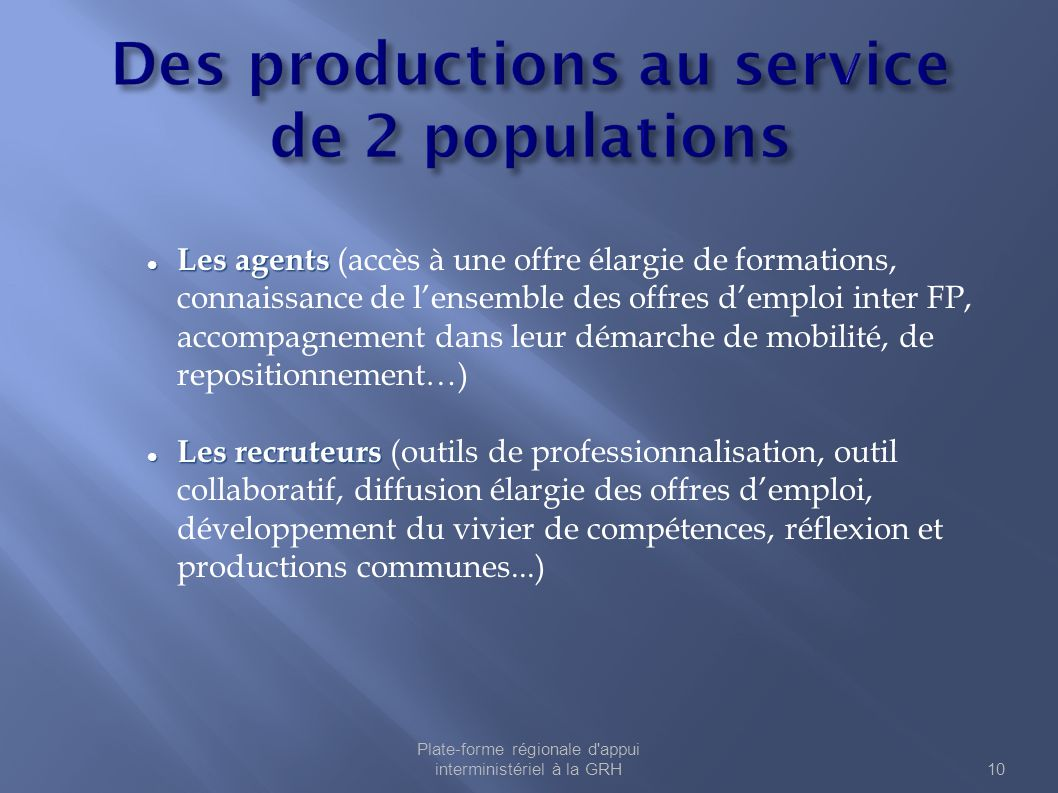 Des productions au service de 2 populations