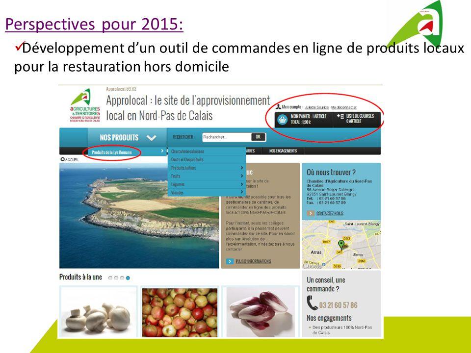 Perspectives pour 2015: Développement d'un outil de commandes en ligne de produits locaux pour la restauration hors domicile.