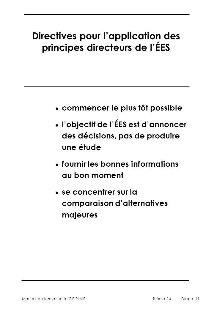Directives pour l'application des principes directeurs de l'ÉES