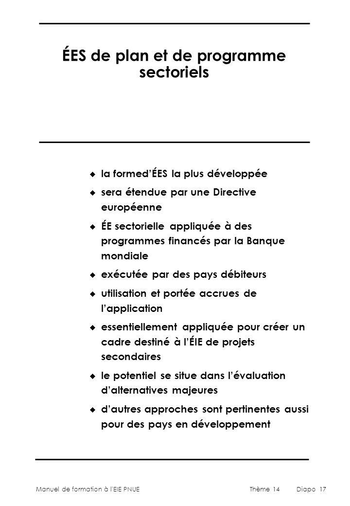 ÉES de plan et de programme sectoriels