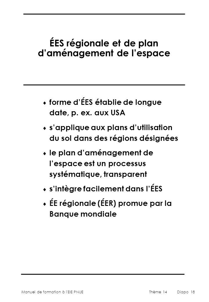ÉES régionale et de plan d'aménagement de l'espace