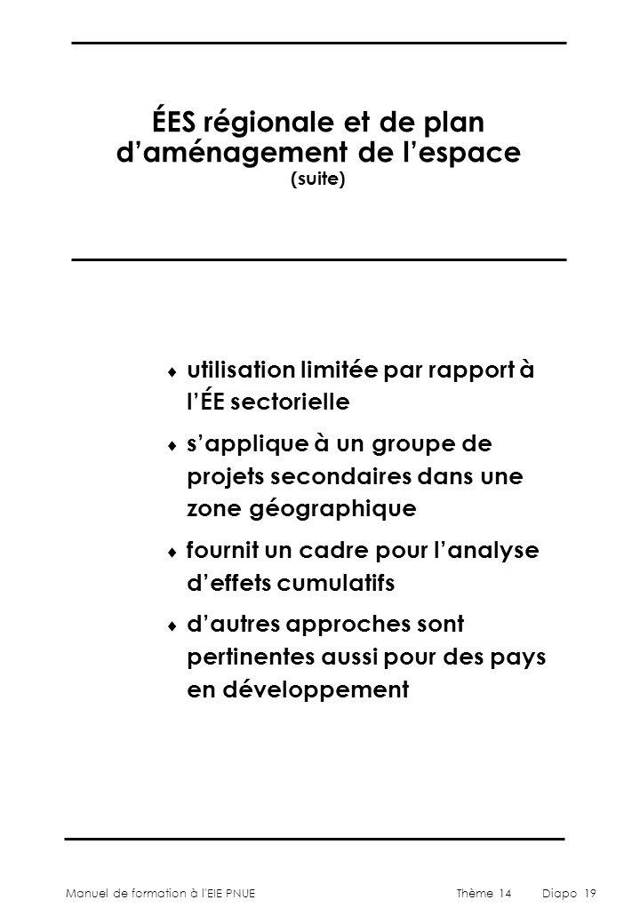ÉES régionale et de plan d'aménagement de l'espace (suite)