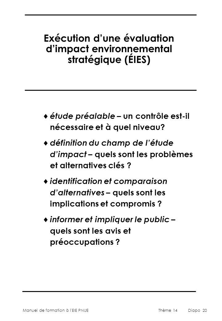 Exécution d'une évaluation d'impact environnemental stratégique (ÉIES)