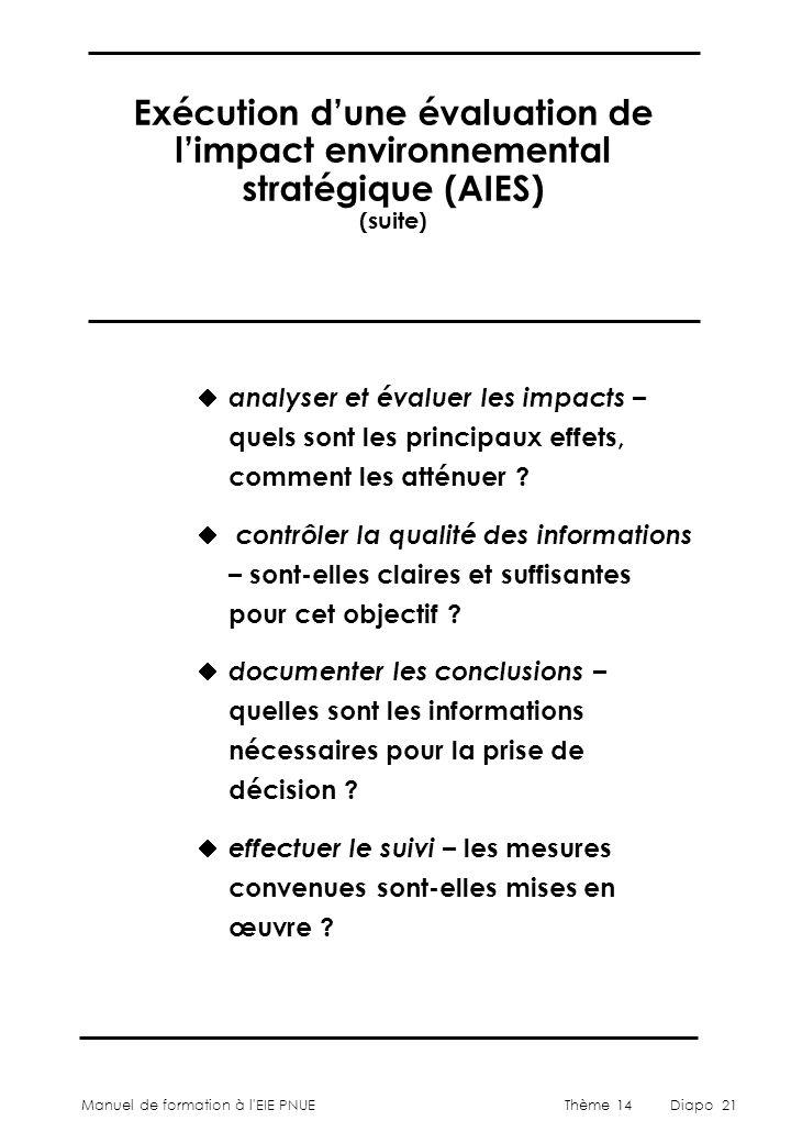 Exécution d'une évaluation de l'impact environnemental stratégique (AIES) (suite)
