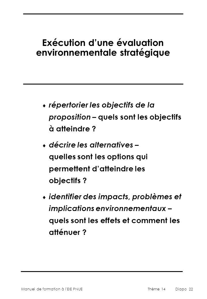 Exécution d'une évaluation environnementale stratégique