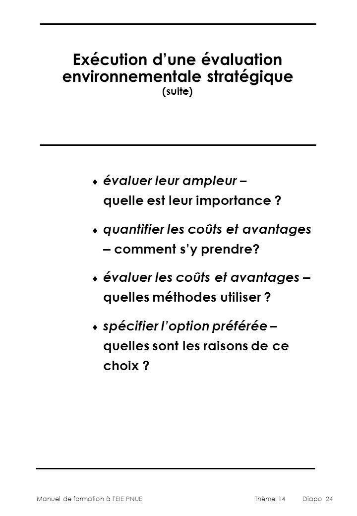 Exécution d'une évaluation environnementale stratégique (suite)