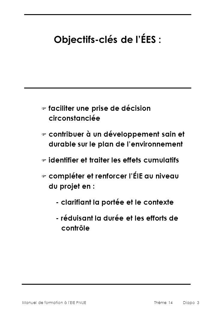 Objectifs-clés de l'ÉES :