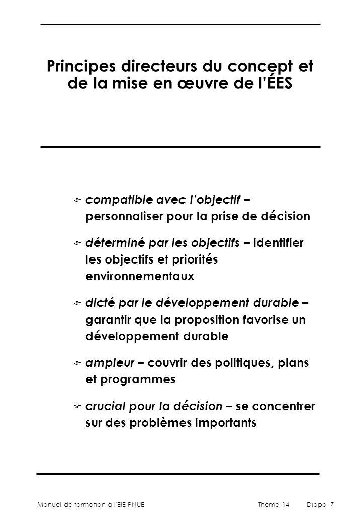 Principes directeurs du concept et de la mise en œuvre de l'ÉES