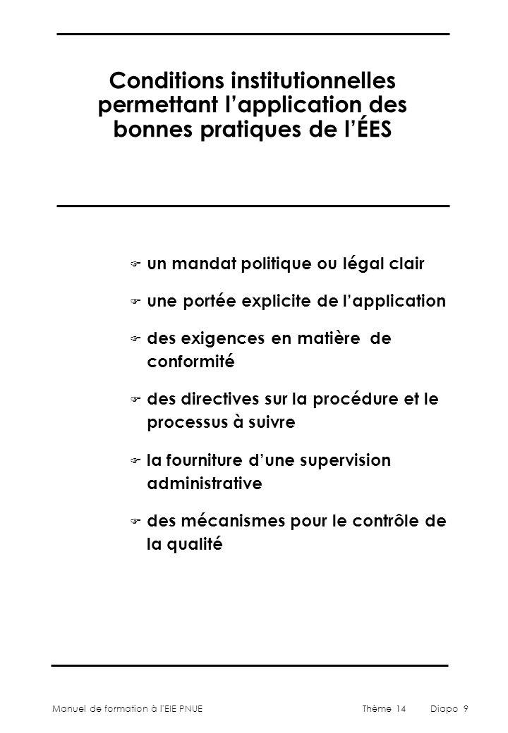 Conditions institutionnelles permettant l'application des bonnes pratiques de l'ÉES
