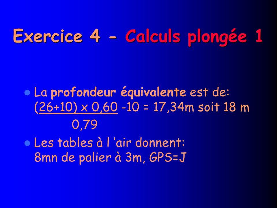 Exercice 4 - Calculs plongée 1