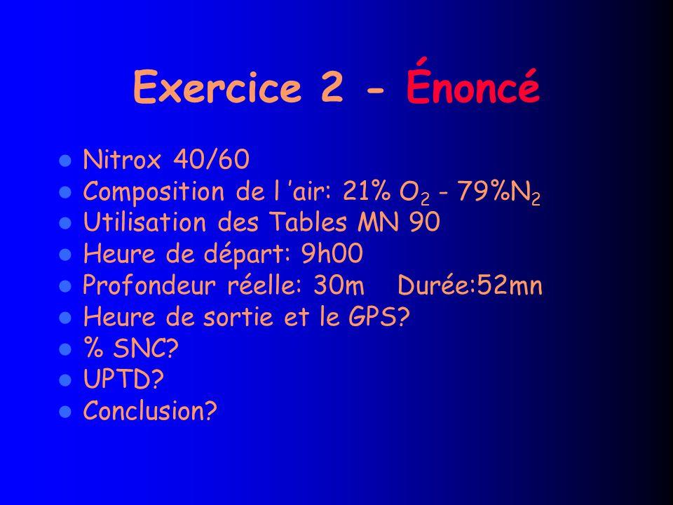 Exercice 2 - Énoncé Nitrox 40/60 Composition de l 'air: 21% O2 - 79%N2