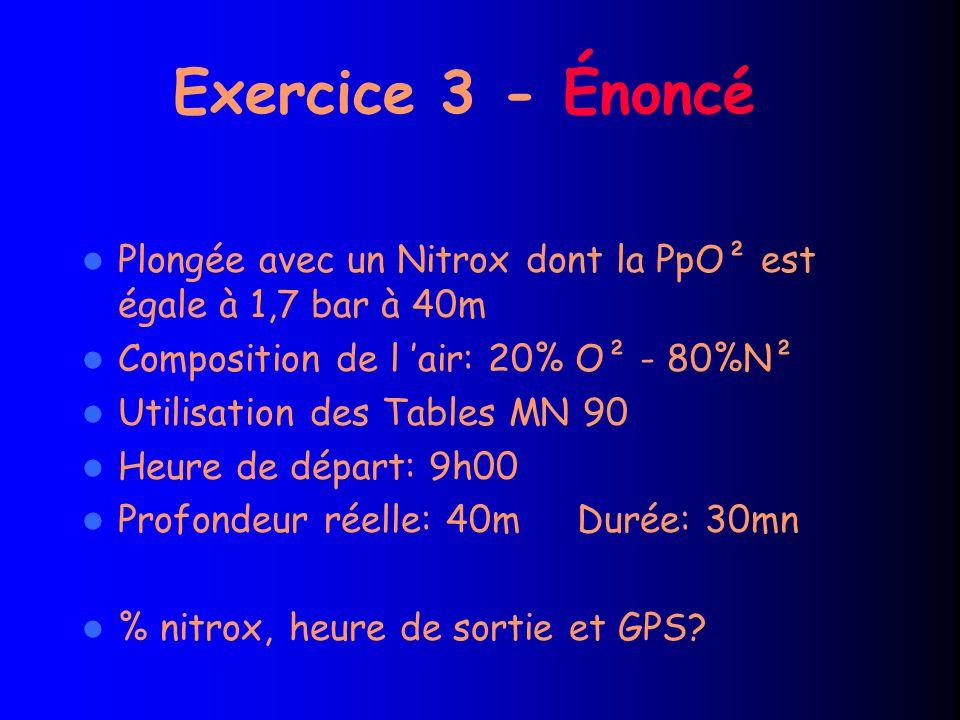 Exercice 3 - Énoncé Plongée avec un Nitrox dont la PpO² est égale à 1,7 bar à 40m. Composition de l 'air: 20% O² - 80%N².
