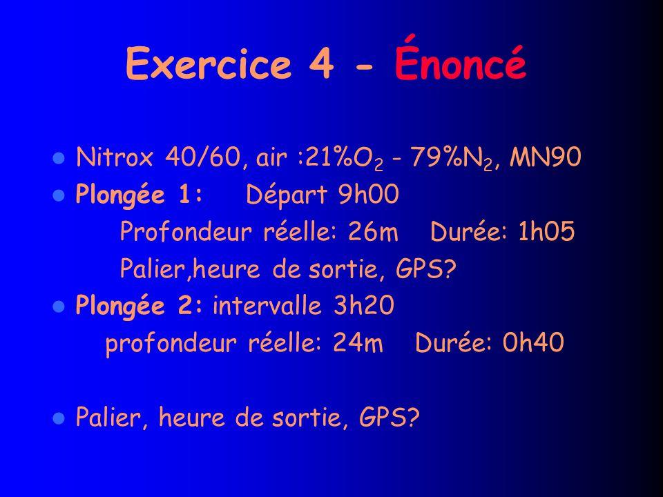 Exercice 4 - Énoncé Nitrox 40/60, air :21%O2 - 79%N2, MN90