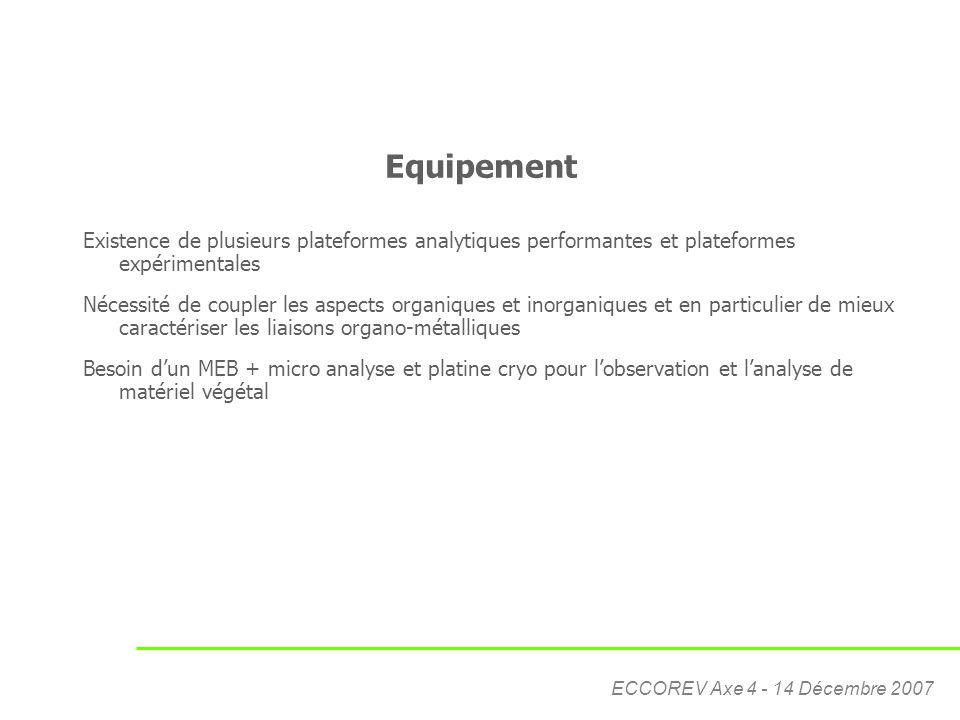 Equipement Existence de plusieurs plateformes analytiques performantes et plateformes expérimentales.