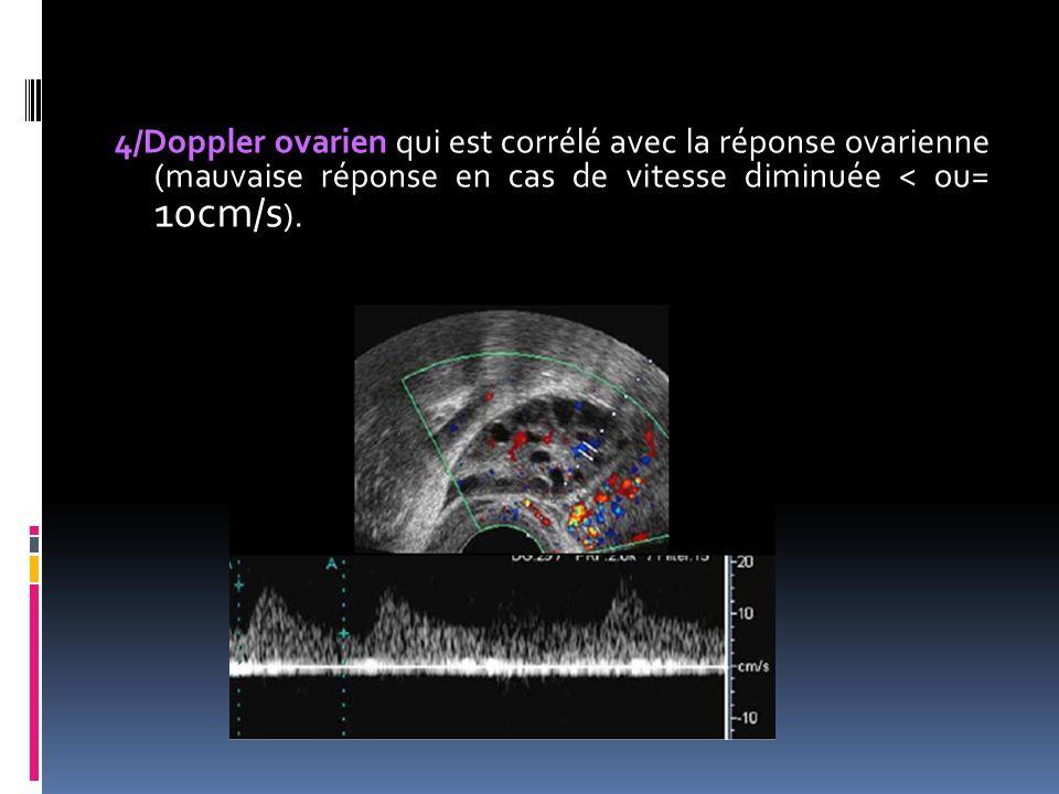 4/Doppler ovarien qui est corrélé avec la réponse ovarienne (mauvaise réponse en cas de vitesse diminuée < ou= 10cm/s).