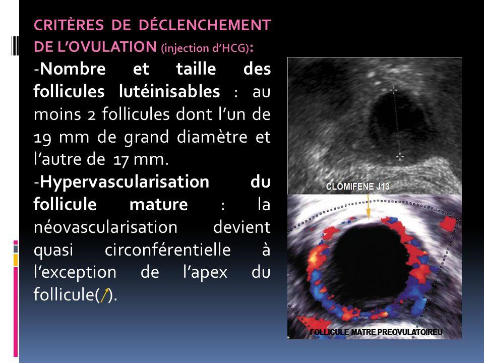 CRITÈRES DE DÉCLENCHEMENT DE L'OVULATION (injection d'HCG):