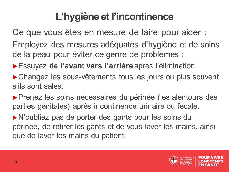 L'hygiène et l'incontinence