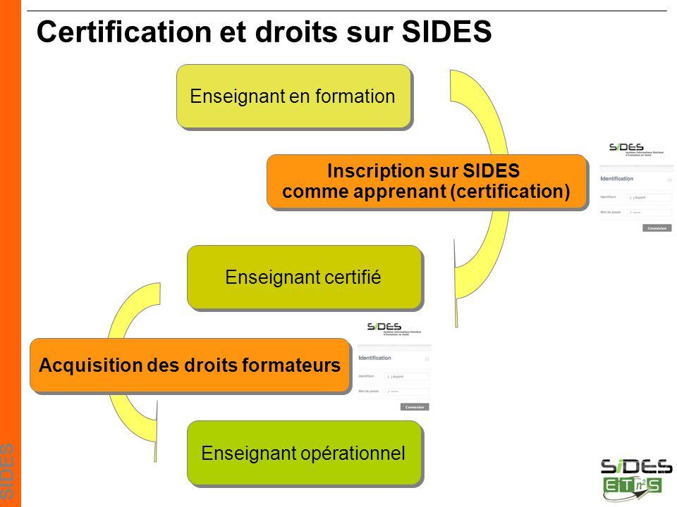 Certification et droits sur SIDES