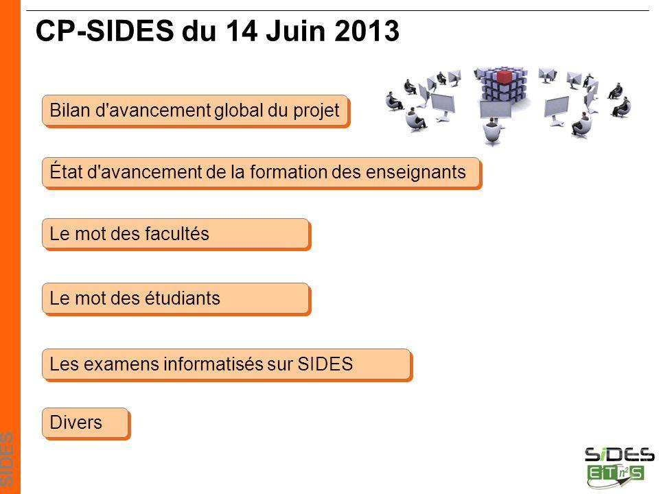 CP-SIDES du 14 Juin 2013 Bilan d avancement global du projet