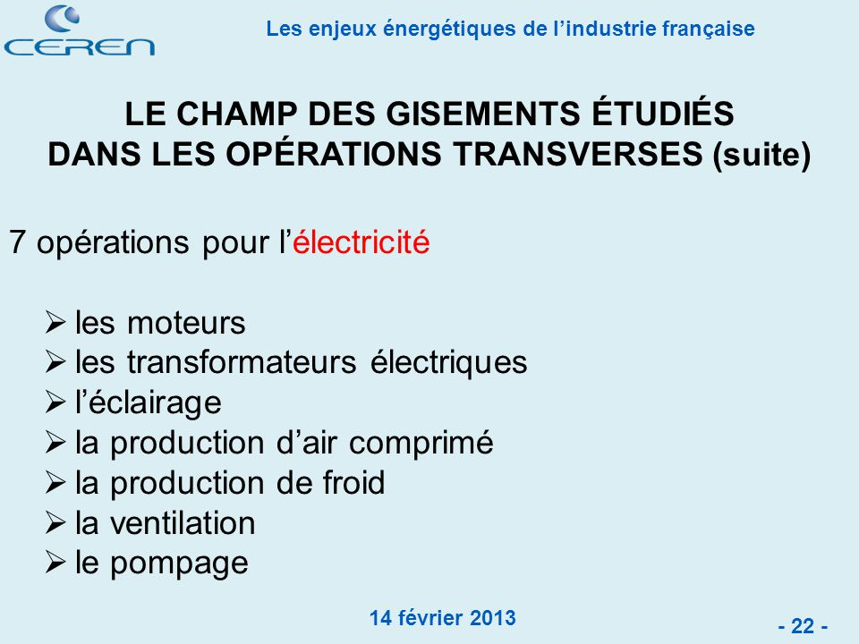 LE CHAMP DES GISEMENTS ÉTUDIÉS DANS LES OPÉRATIONS TRANSVERSES (suite)