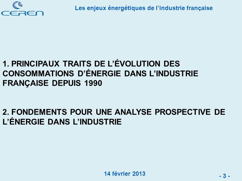 1. PRINCIPAUX TRAITS DE L'ÉVOLUTION DES CONSOMMATIONS D'ÉNERGIE DANS L'INDUSTRIE FRANÇAISE DEPUIS 1990