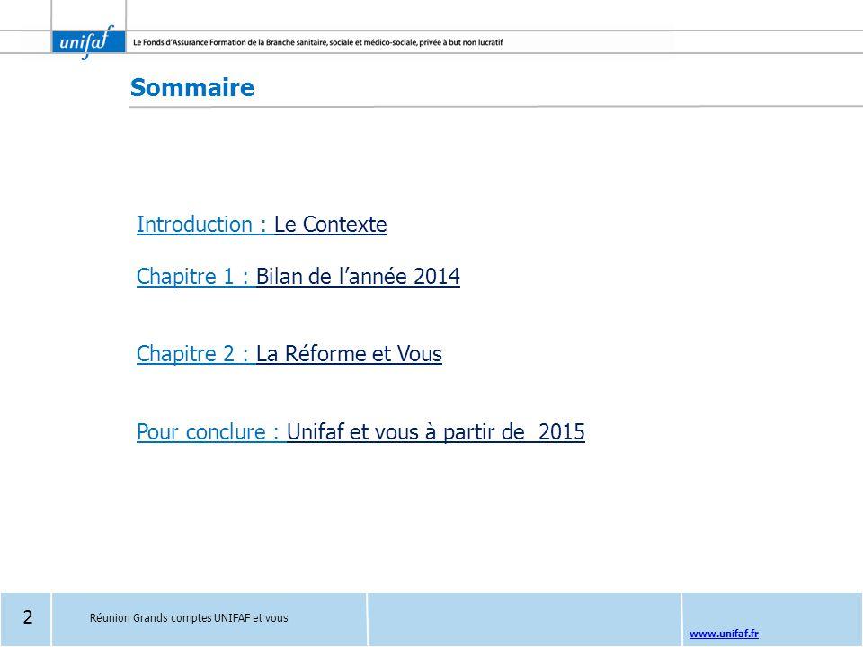 Sommaire Introduction : Le Contexte Chapitre 1 : Bilan de l'année 2014