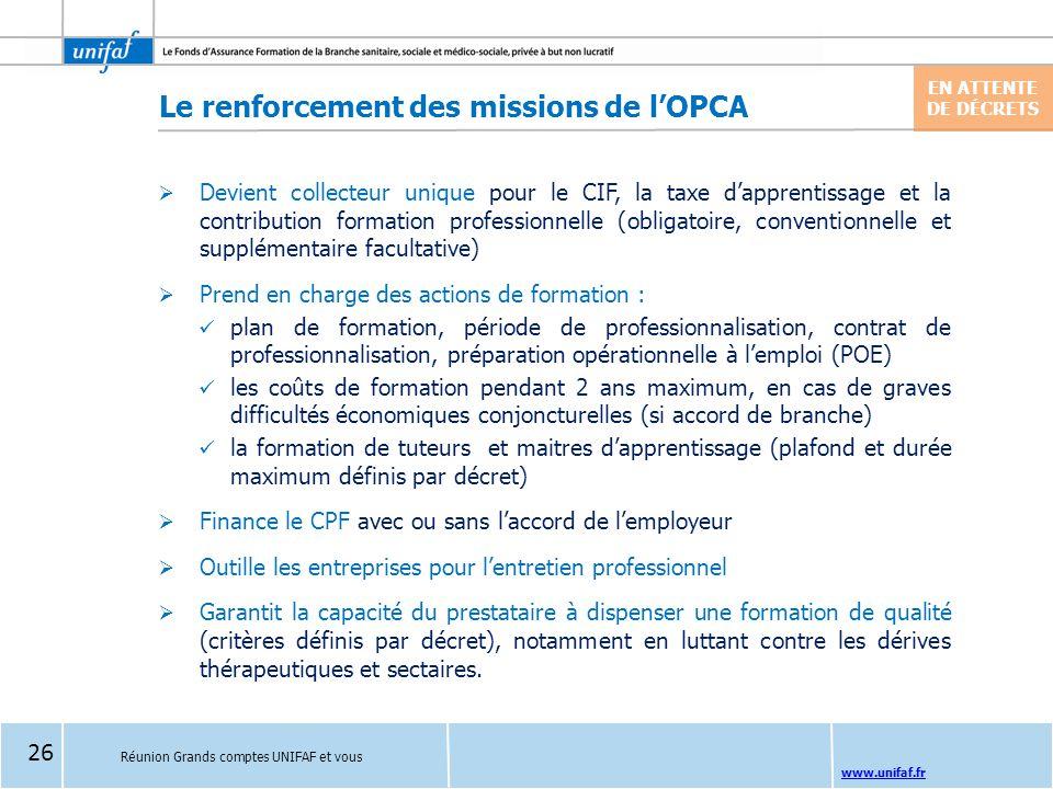 Le renforcement des missions de l'OPCA