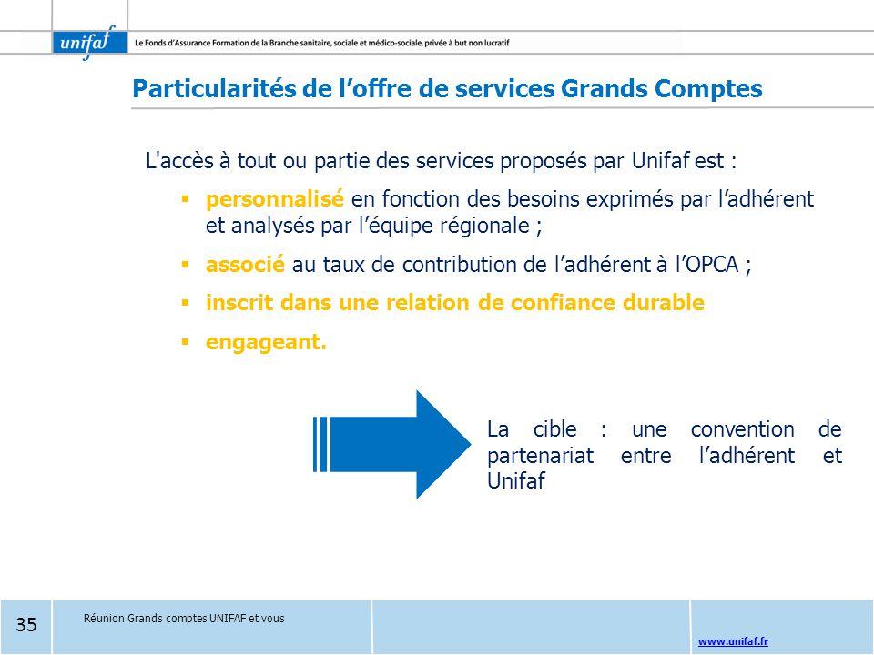 Particularités de l'offre de services Grands Comptes
