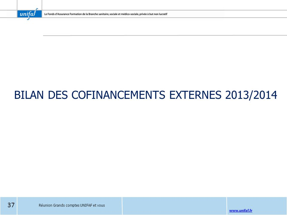 BILAN DES COFINANCEMENTS EXTERNES 2013/2014
