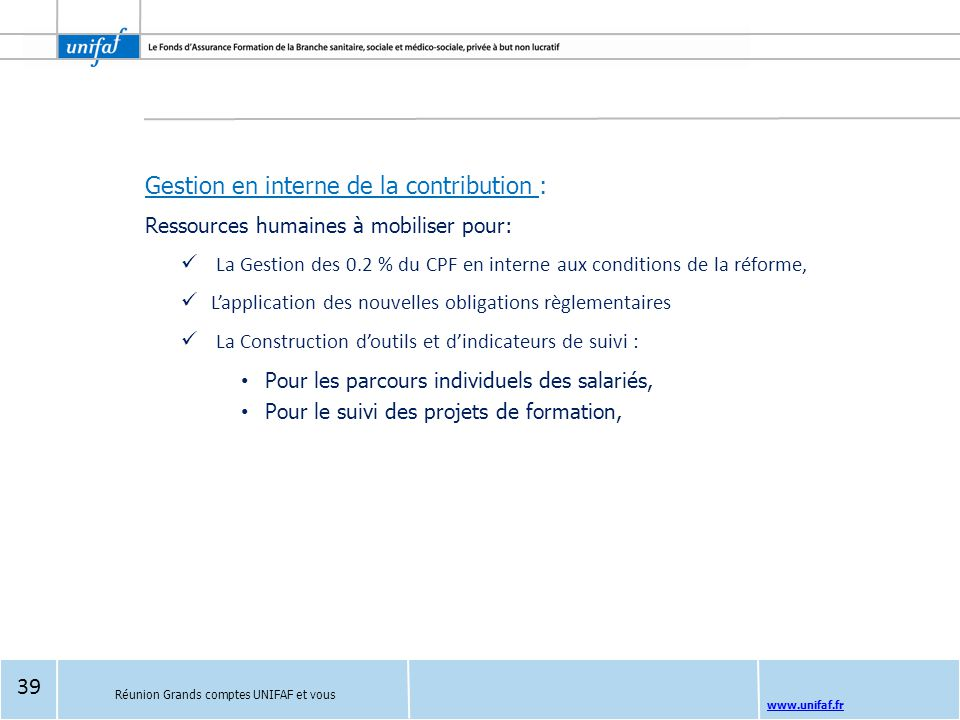 Gestion en interne de la contribution :