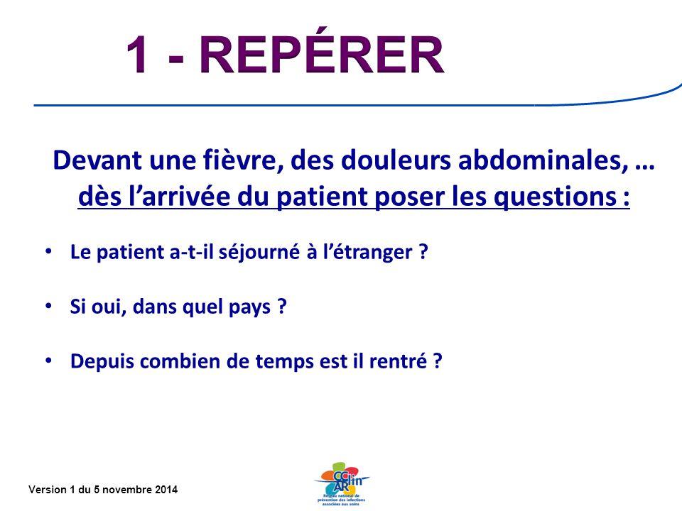 1 - REPÉRER Devant une fièvre, des douleurs abdominales, … dès l'arrivée du patient poser les questions :