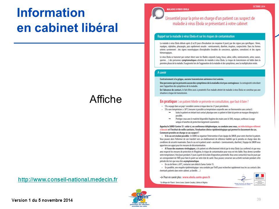 Information en cabinet libéral Affiche
