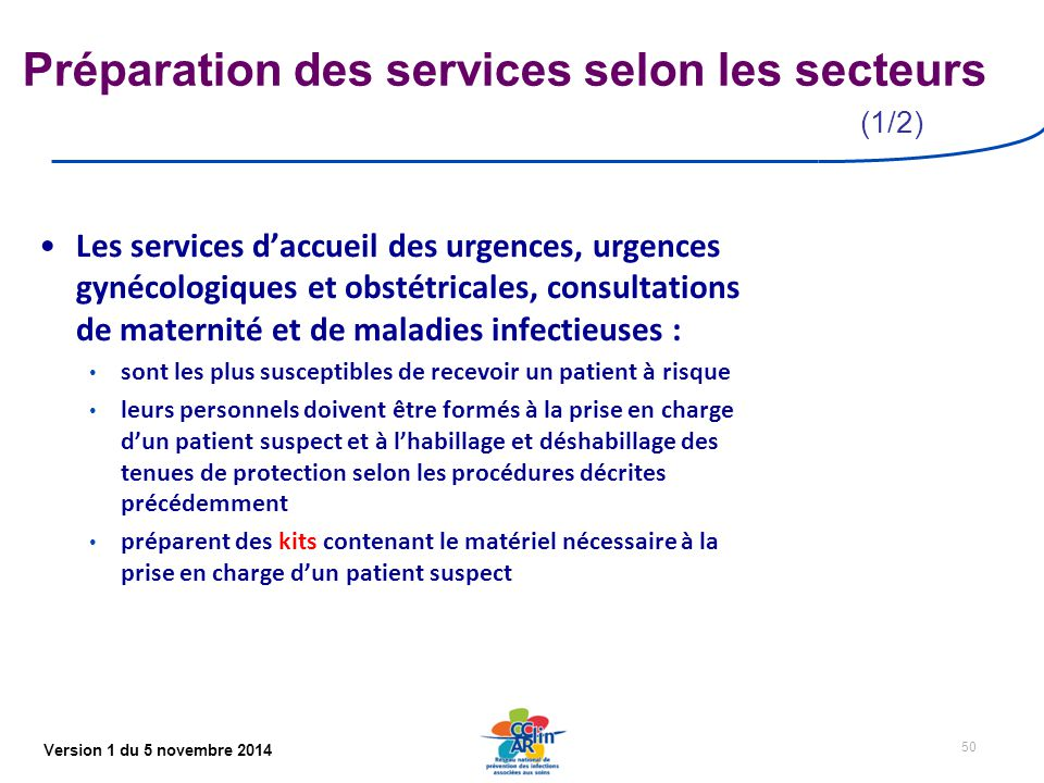 Préparation des services selon les secteurs