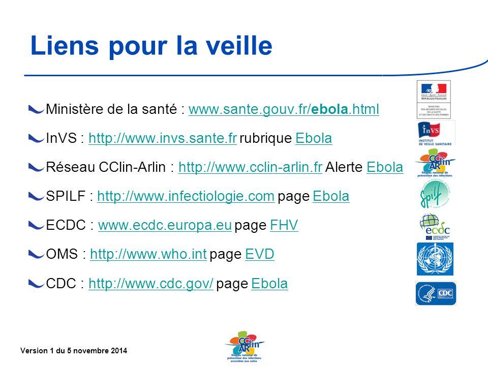 Liens pour la veille Ministère de la santé : www.sante.gouv.fr/ebola.html. InVS : http://www.invs.sante.fr rubrique Ebola.