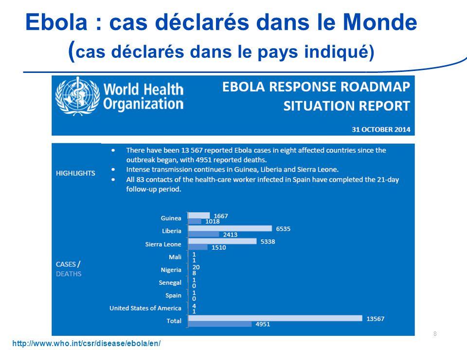 Ebola : cas déclarés dans le Monde (cas déclarés dans le pays indiqué)