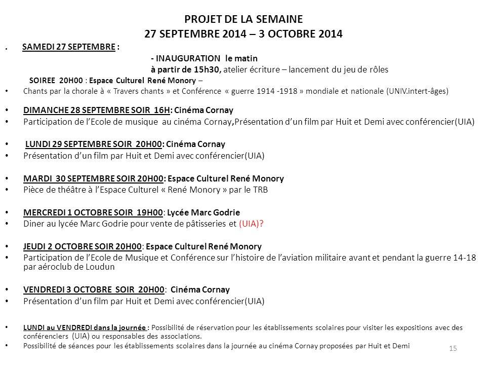 PROJET DE LA SEMAINE 27 SEPTEMBRE 2014 – 3 OCTOBRE 2014