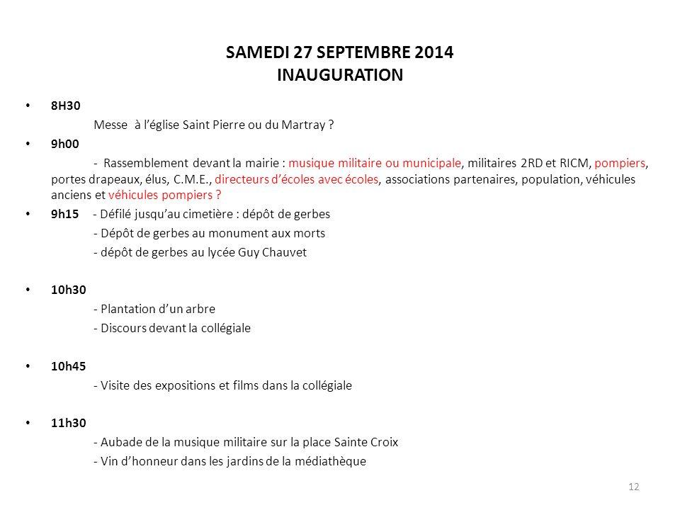 SAMEDI 27 SEPTEMBRE 2014 INAUGURATION
