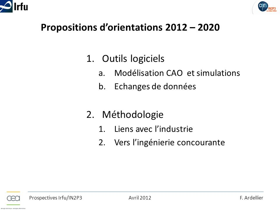 Propositions d'orientations 2012 – 2020