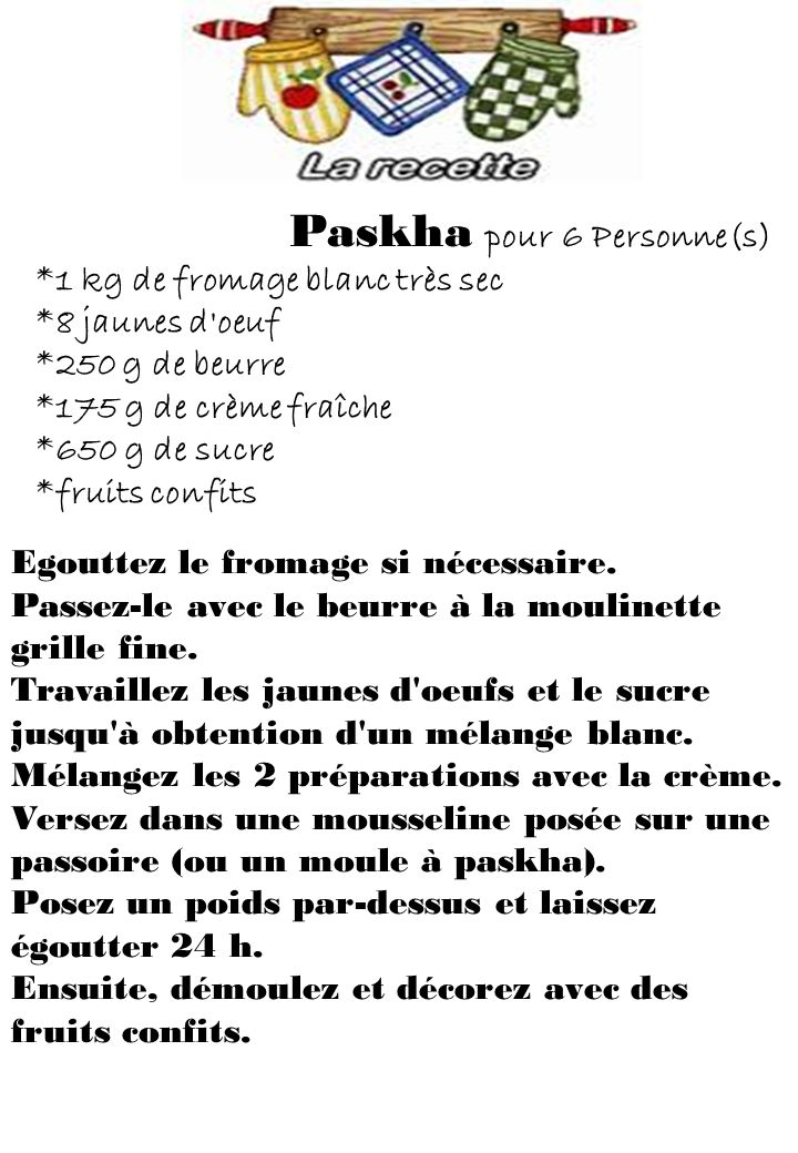 Paskha pour 6 Personne(s)