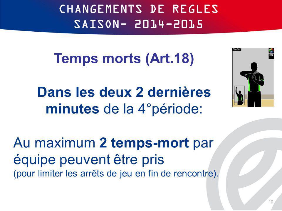 CHANGEMENTS DE REGLES SAISON- 2014-2015
