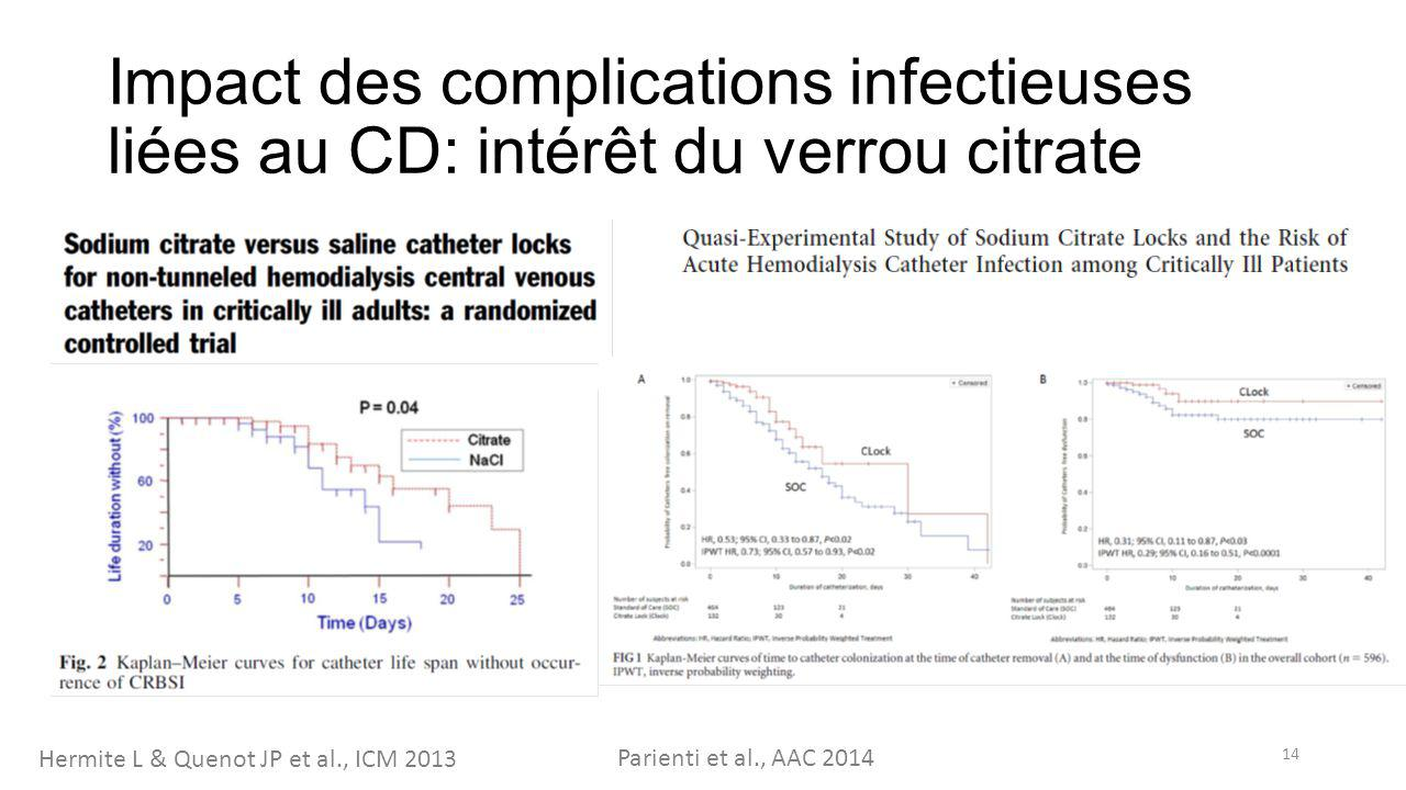 Impact des complications infectieuses liées au CD: intérêt du verrou citrate