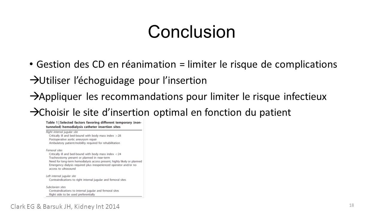 Conclusion Gestion des CD en réanimation = limiter le risque de complications. Utiliser l'échoguidage pour l'insertion.