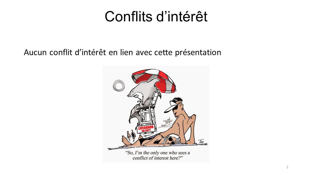 Conflits d'intérêt Aucun conflit d'intérêt en lien avec cette présentation