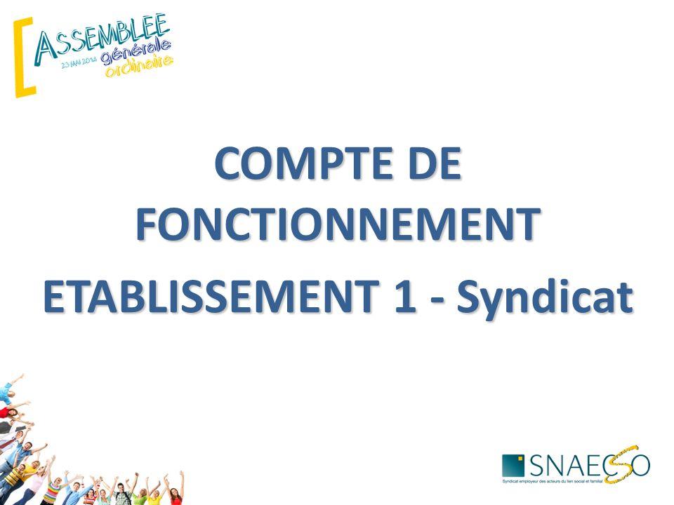 COMPTE DE FONCTIONNEMENT ETABLISSEMENT 1 - Syndicat