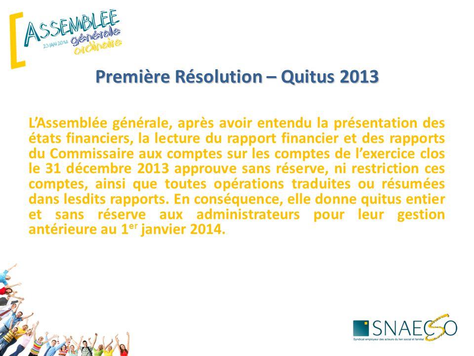 Première Résolution – Quitus 2013