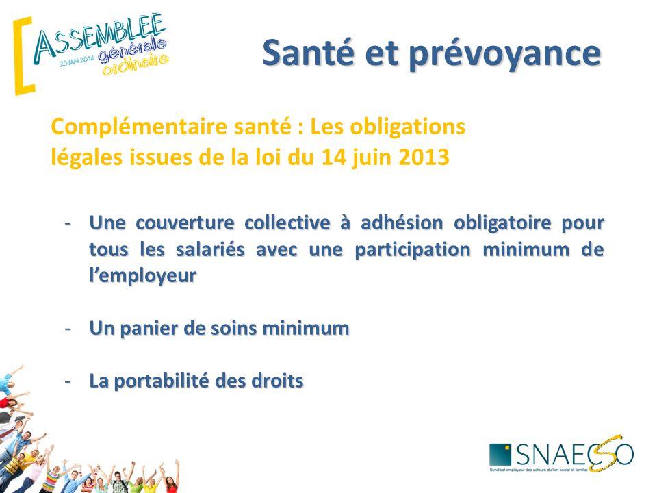 Santé et prévoyance Complémentaire santé : Les obligations légales issues de la loi du 14 juin 2013.