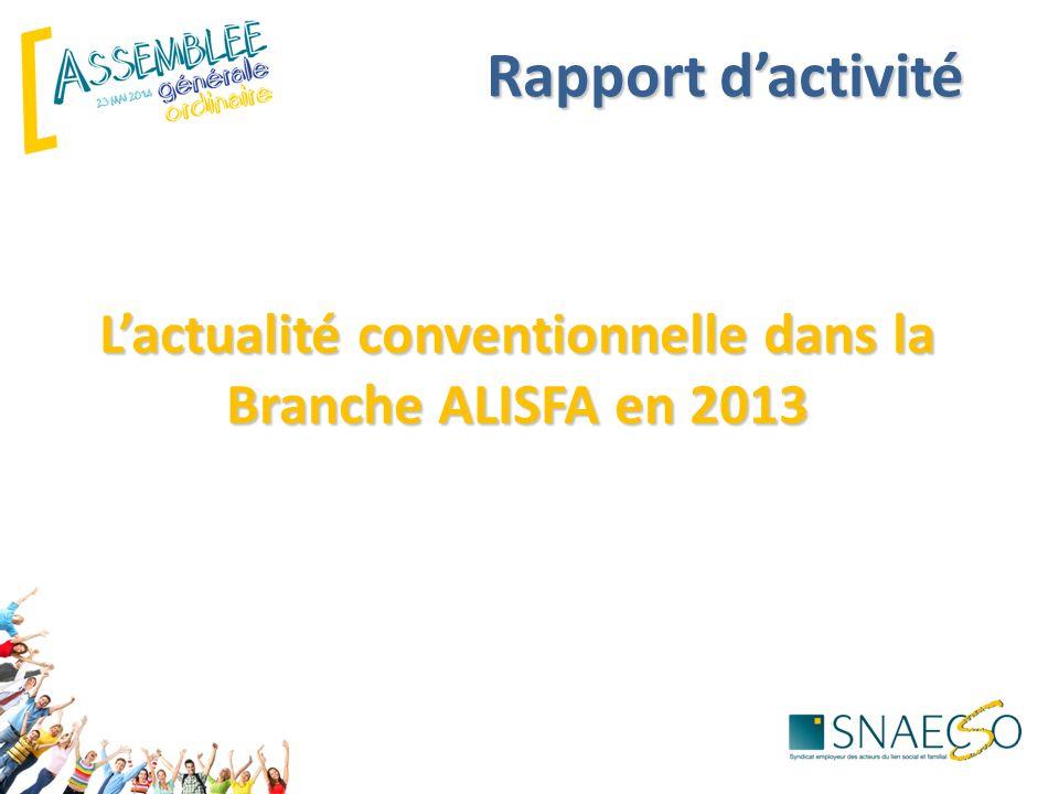 L'actualité conventionnelle dans la Branche ALISFA en 2013