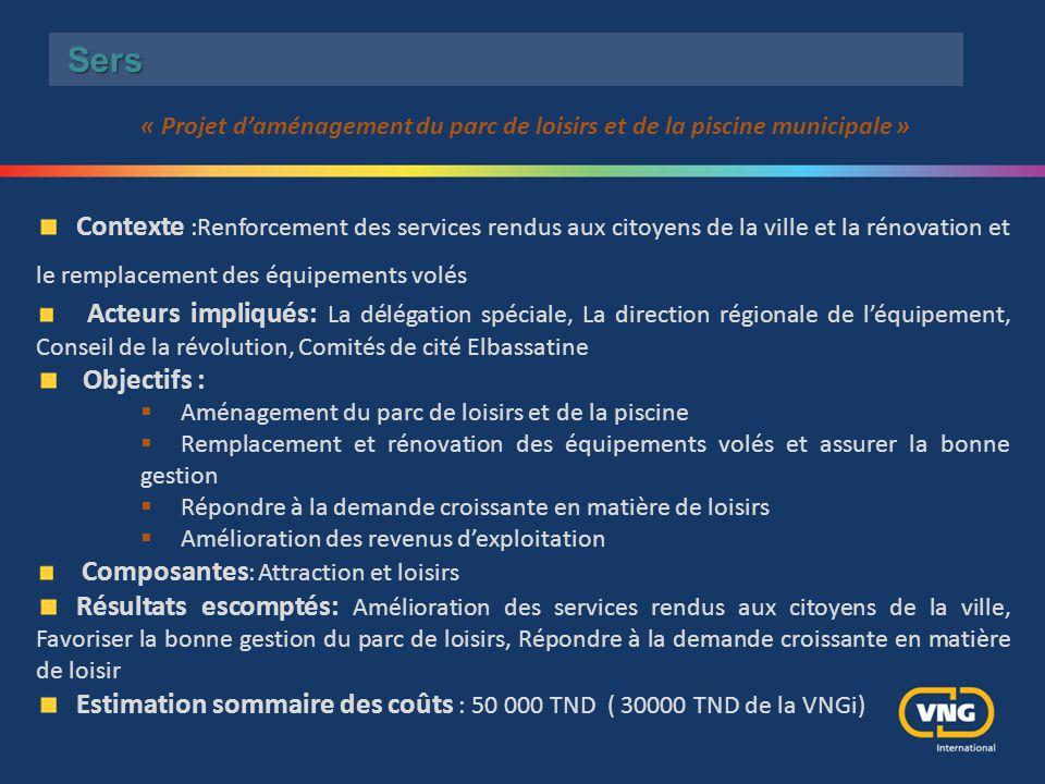 Estimation sommaire des coûts : 50 000 TND ( 30000 TND de la VNGi)